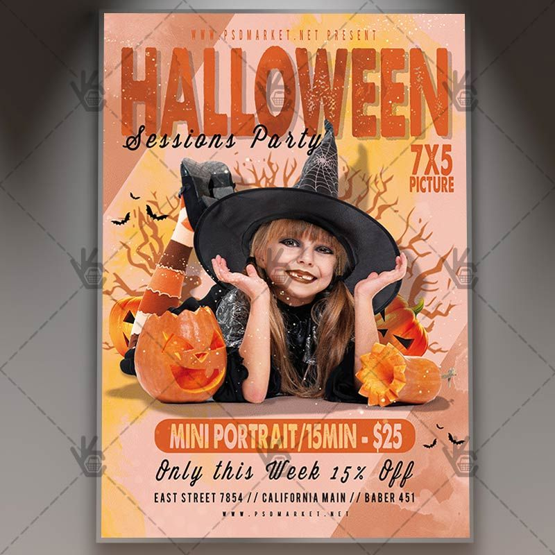 Halloween Sessions Party - Seasonal Flyer PSD Template #blood - zombie flyer template