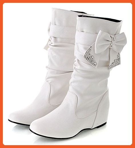 Women's Fashion Round Toe Rhinestones Bow Slouch Mid Calf Boots