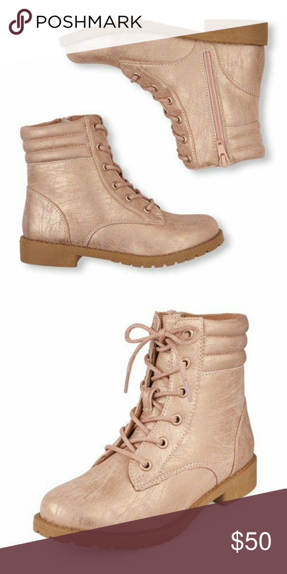 Rose gold girls combat boots Youth