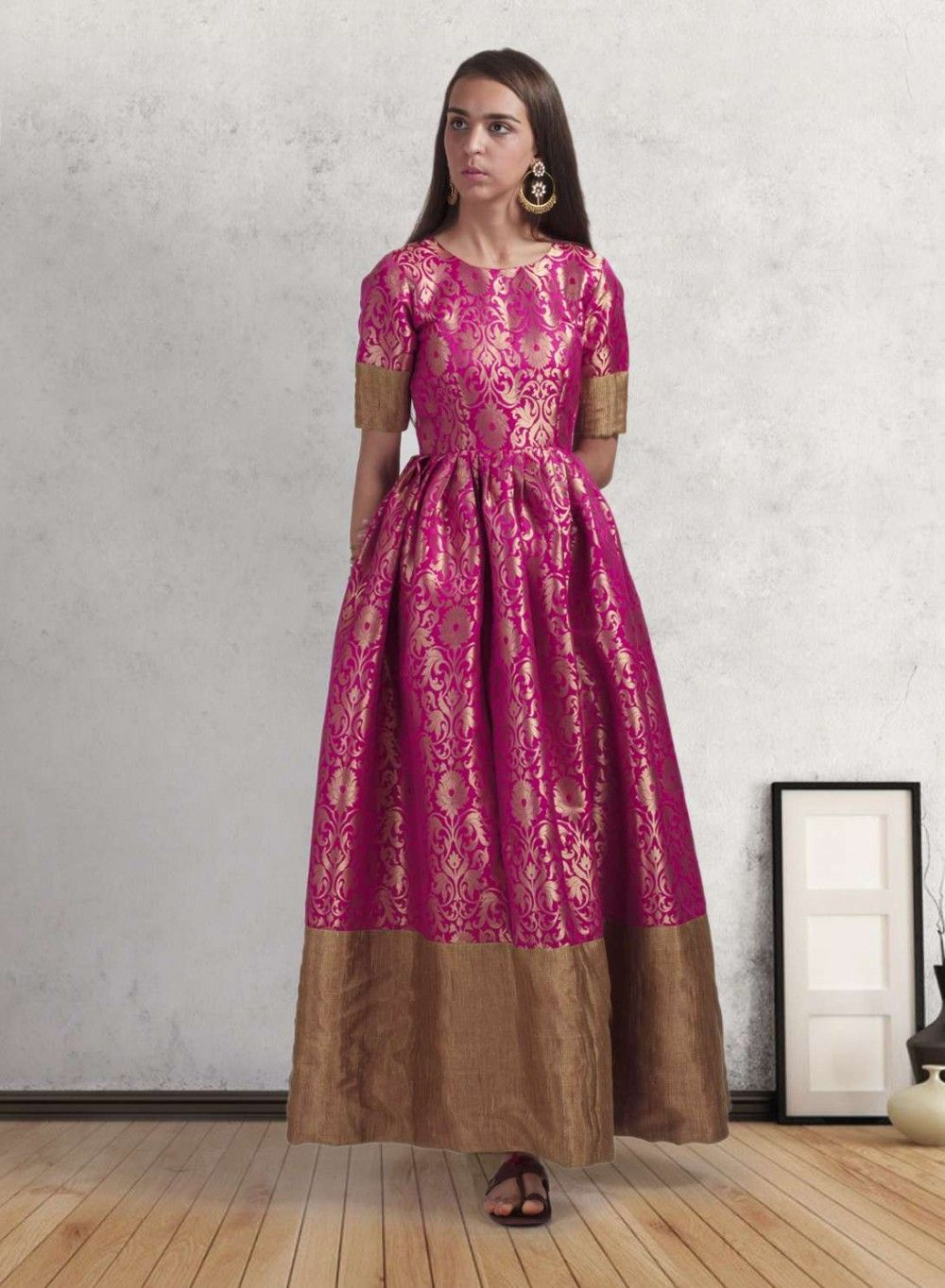 Pink pure brocade gold border gown gowns gold and ethnic