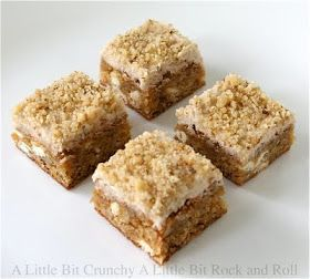 A Little Bit Crunchy A Little Bit Rock and Roll: Maple Frosted Walnut White Chocolate Blondies