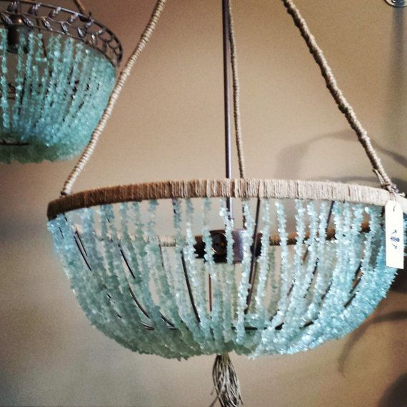 20 Open Sea Glass Chandelier This Beautiful Open Chandelier Features A Design Using The Cultured Sea Gla Sea Glass Chandelier Sea Glass Pendant Diy Chandelier