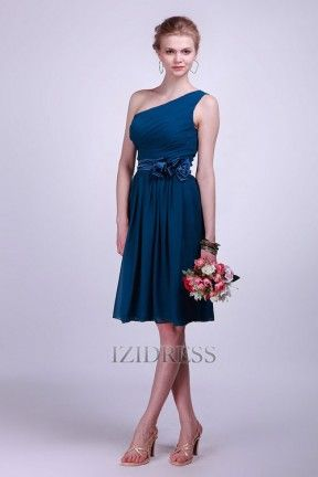 Sheath/Column One shoulder Chiffon Bridesmaids Dress - IZIDRESS.com