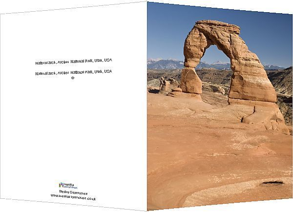Greetings Card-Natural arch, Arches National Park, Utah, USA-6x8 inch Greetings Card made in the UK