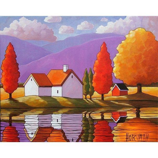 PAINTING ORIGINAL Folk Art Purple Mountain Cottage Trees Modern ...