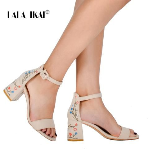 5e960995c LALA IKAI Summer Floral Sandals Embroider Women Sandals Suede Retro High  Heels 7.5 cm Square Heel