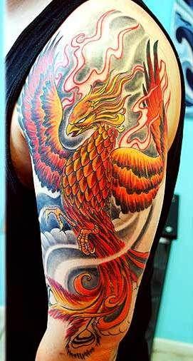 Inspiring Colorful Phoenix Tattoo On Man Left Half Sleeve Half Sleeve Tattoo Half Sleeve Tattoos Drawings Phoenix Tattoo Sleeve