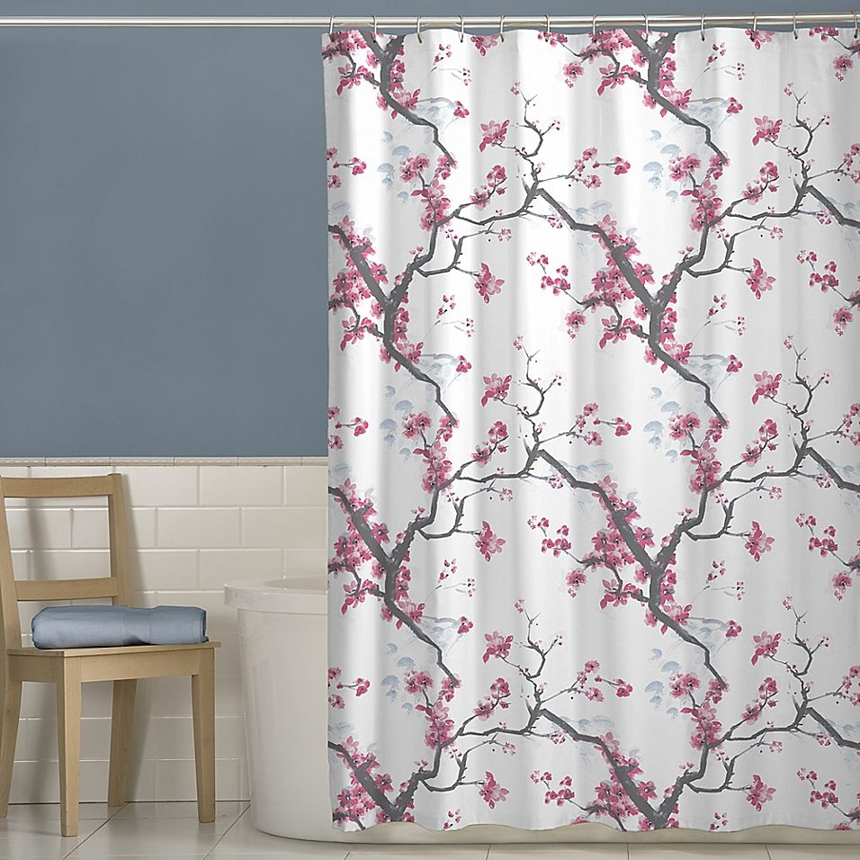 Cherrywood Fabric Shower Curtain In Pink In 2020 Fabric Shower
