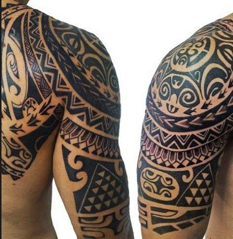 d65148a9e polynesian-half-sleeve-tattoo #maori #tattoo #tattoos   Beautiful ...