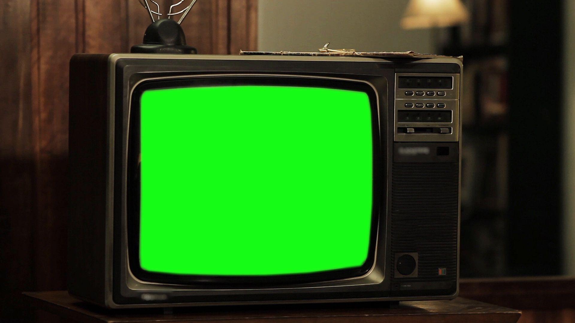 Old Tv Green Screen, CloseUp. Stock Footage,ScreenGreen