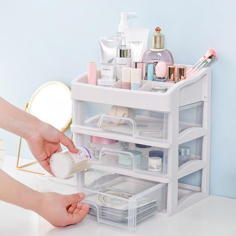 Plastic Cosmetic Storage Box In 2020 Plastic Storage Drawers Makeup Storage Box Desktop Storage