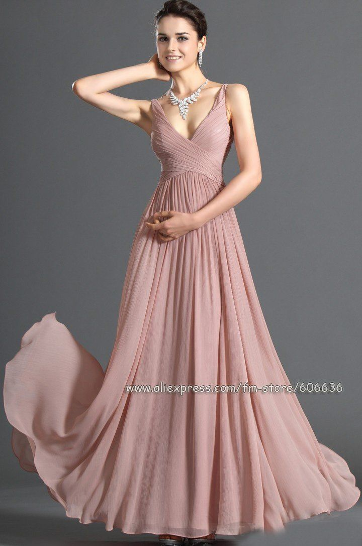 Custom Made A-Line V-Neck Pleated Chiffon Stunning Designer ...