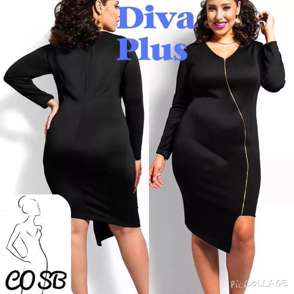Sexy Black Dress with Gold Zipper Sexy Black Asymmetrical Dress with Slanted Gold Zipper. Dress is plain black in the back, but can see asymmetrical bottom. Has rounded neckline. Heavy rayon & poly. Have size XL Left Cycle Boutique Dresses Asymmetrical
