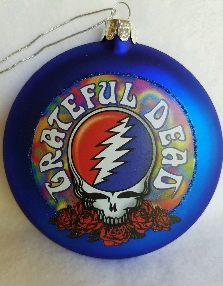Good ol Greatful Dead Skull Glass Christmas Tree Ornament By Kurt Adler   Glass christmas tree ...