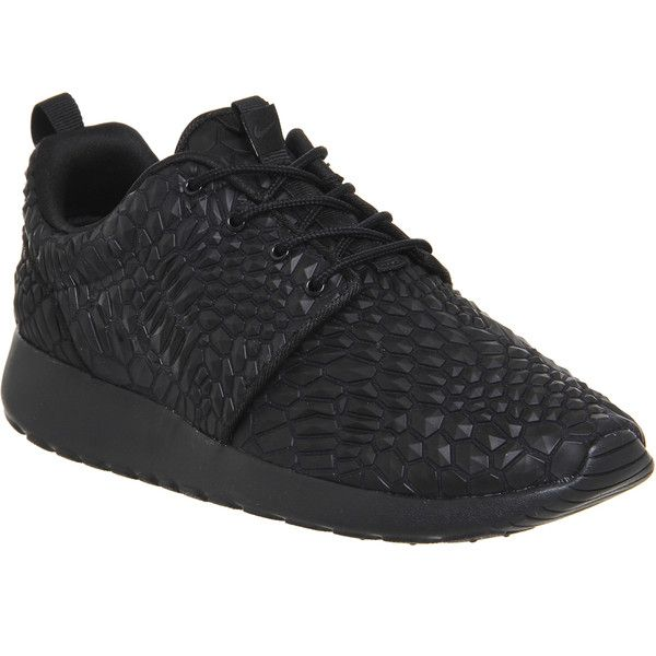 Nike Roshe Run (£95) ❤ liked on Polyvore featuring shoes, athletic shoes, trainers, triple black dmb, unisex sports, traction shoes, unisex shoes, kohl shoes, nike shoes and sporting shoes