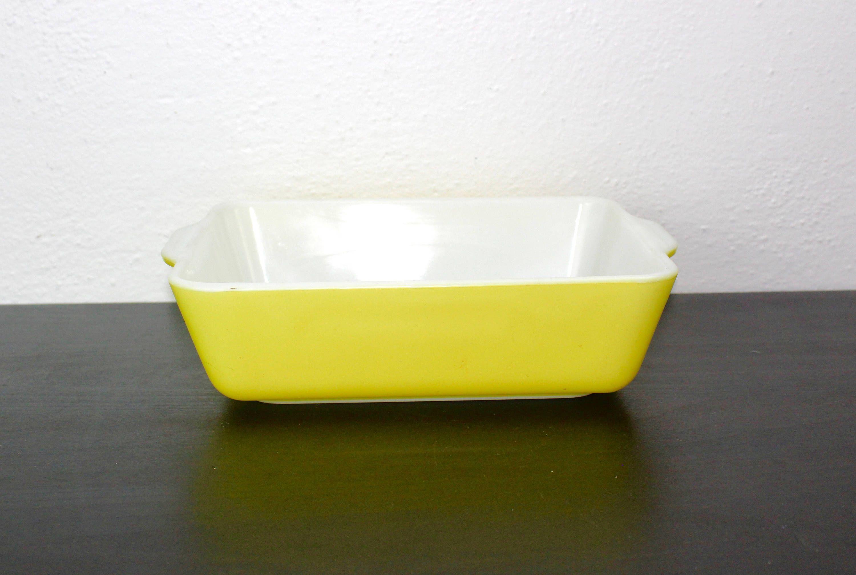 Vintage Yellow Pyrex Baking Pan Square Baker Dish Brownie Or