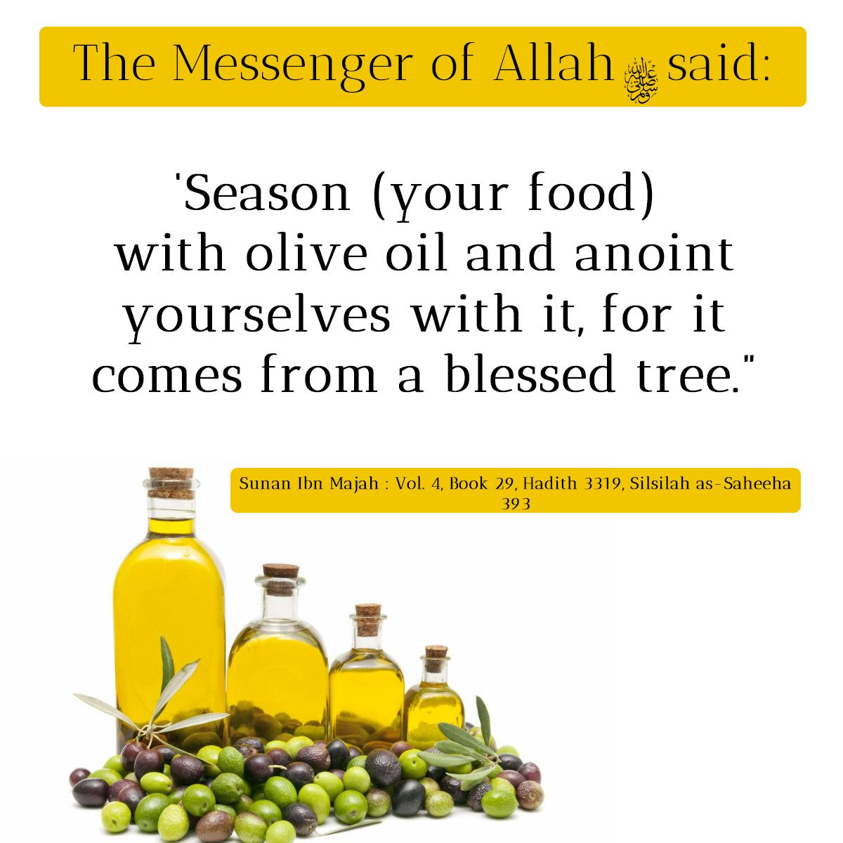 hadith on olive oil: it was narrated from 'umar that the