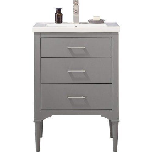 Design Element 24 Inch Mason Single Sink Bathroom Vanity Gray