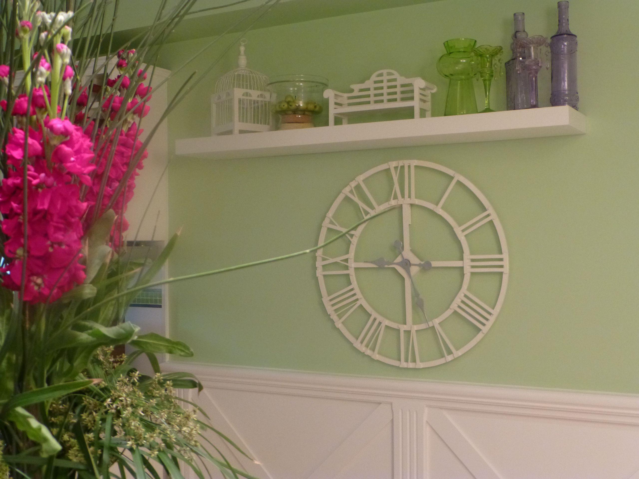 shelf and clock