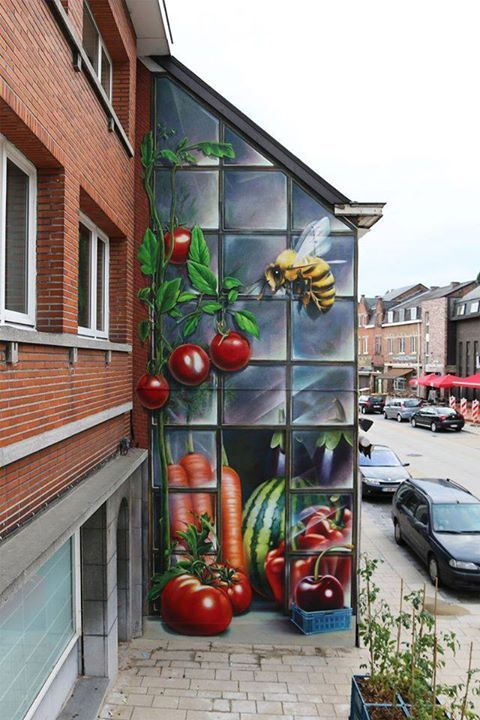 Check this amazing and massive mural by SuperA & Leon Keer in Belgium. 2 great Dutch talented artists.
