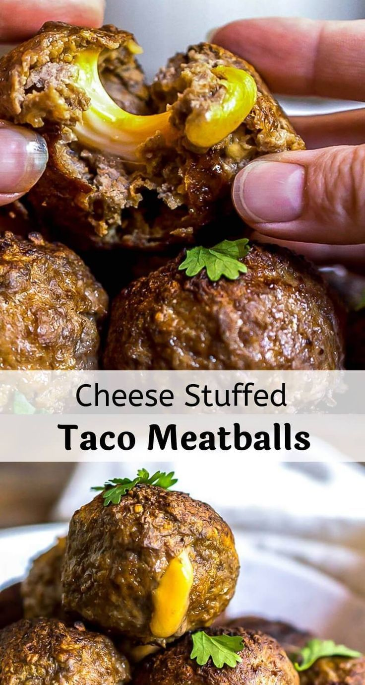 Taco Cheese Stuffed Meatballs are a fun twist for Taco Tuesdays! This easy meatball recipe is taken to the next level with taco seasoning and colby jack cheese. #meatballrecipes #easydinnerrecipes #easydinnerideas #tacorecipes #tacotuesdayrecipes