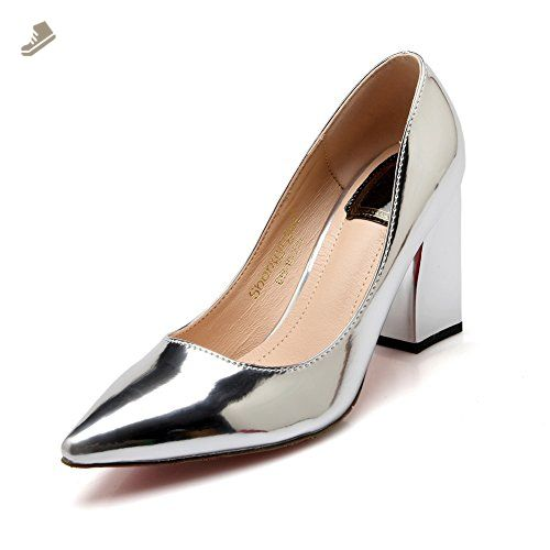 Girls Fashion Cone-Shape Heel Mule Wheeled Heel Shoes Imitated Leather Pumps-Shoes