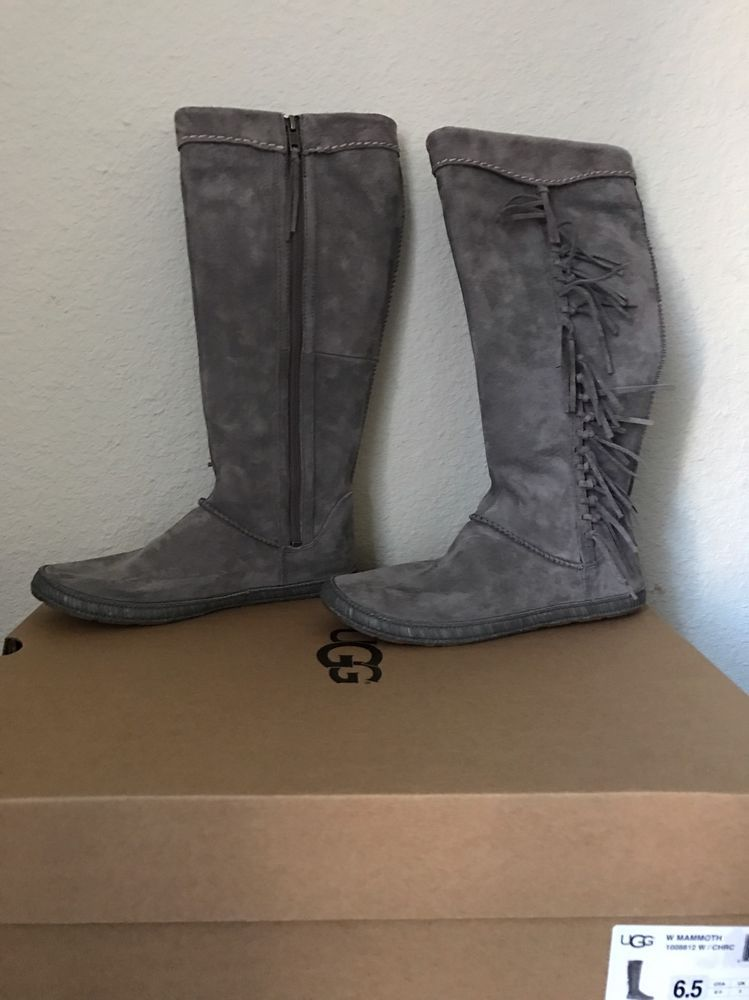 6d10b1ad3a4 NIB UGG® Women's Mammoth Fringe Tall Boots Charcoal 1008812 size 6.5 ...