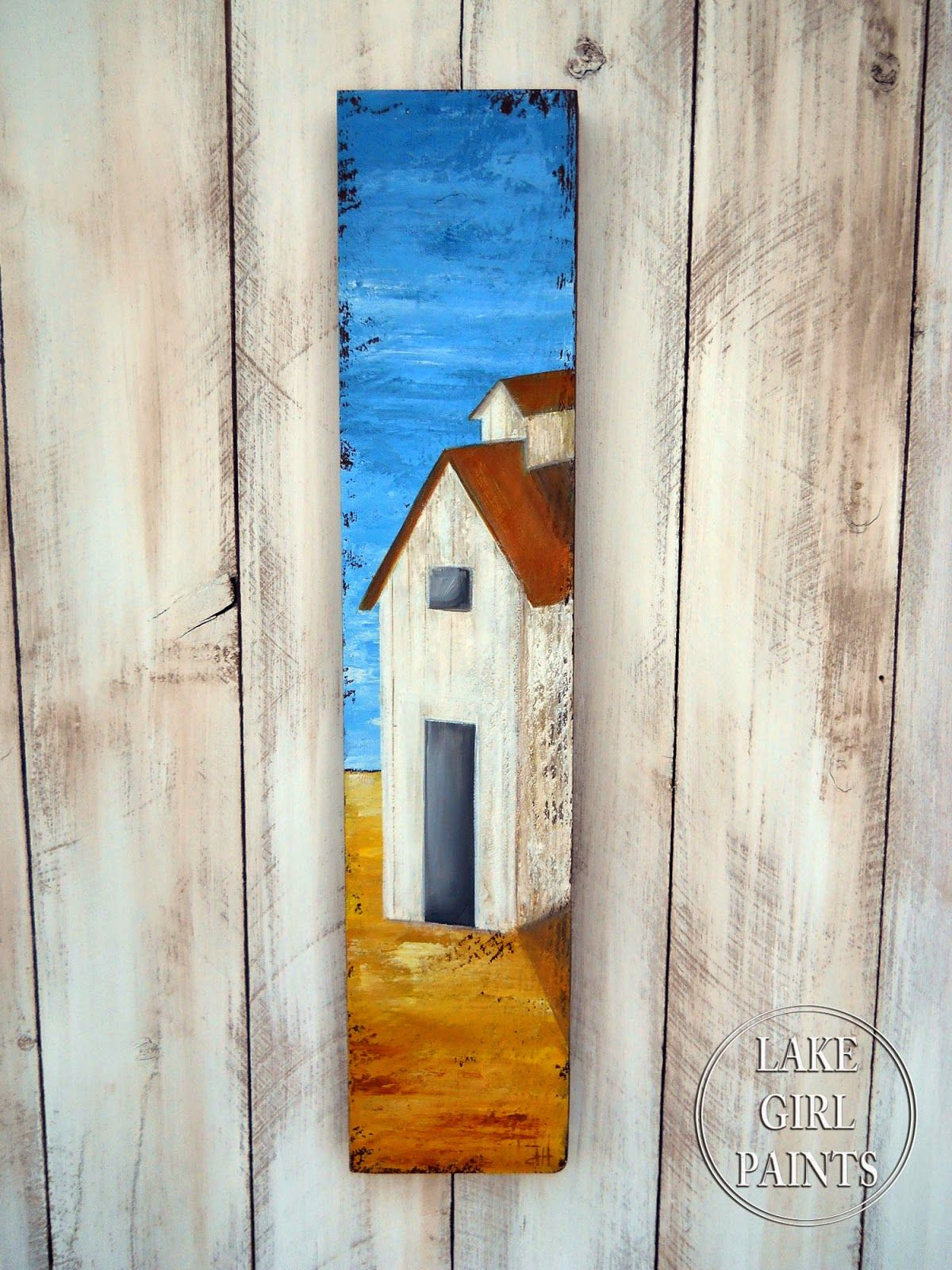 Lake girl paints countryside folk art aa lushes buildings