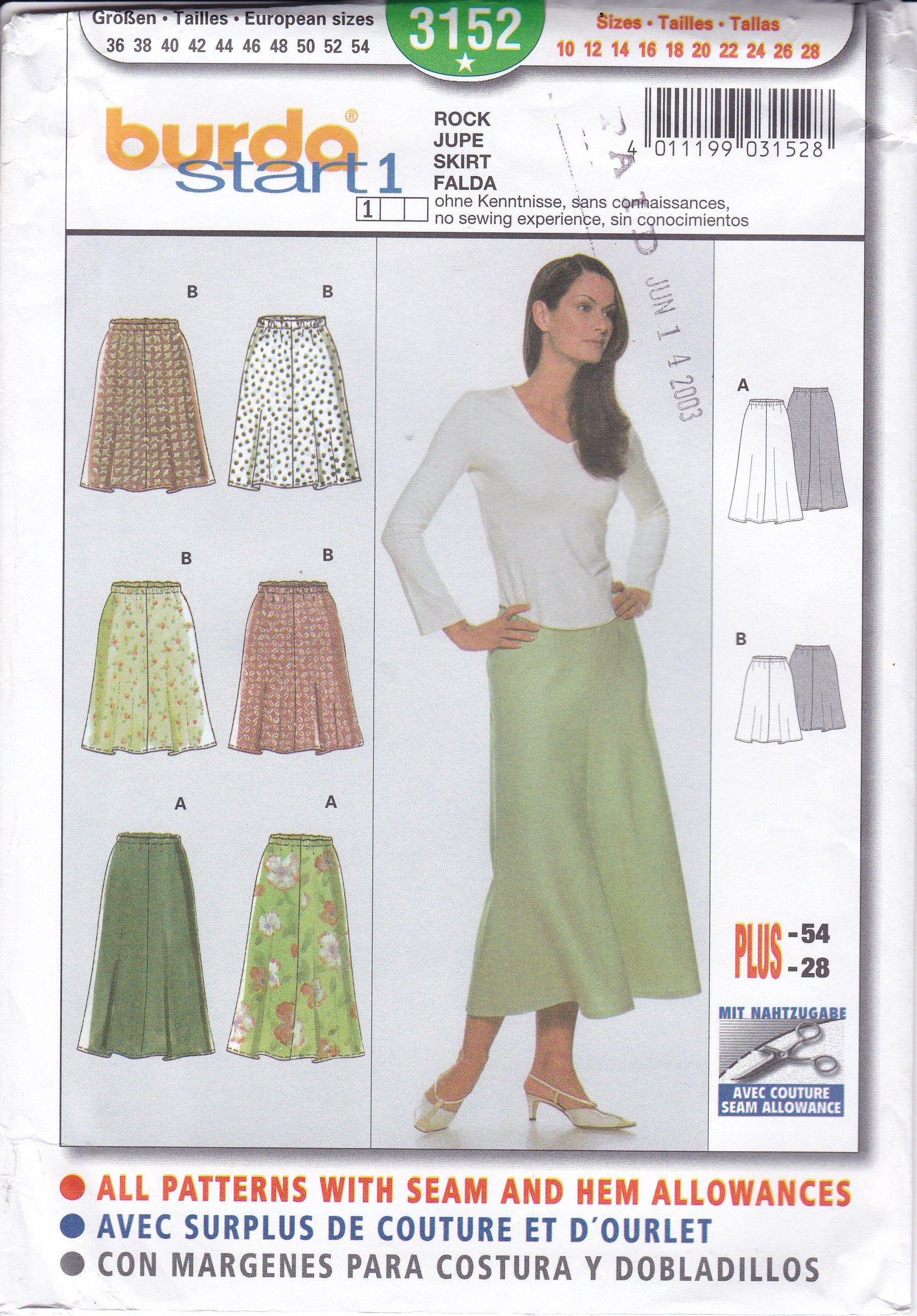 Burda Sewing Pattern Misses Dress  Size 10-12-14-16-18-20-22-24