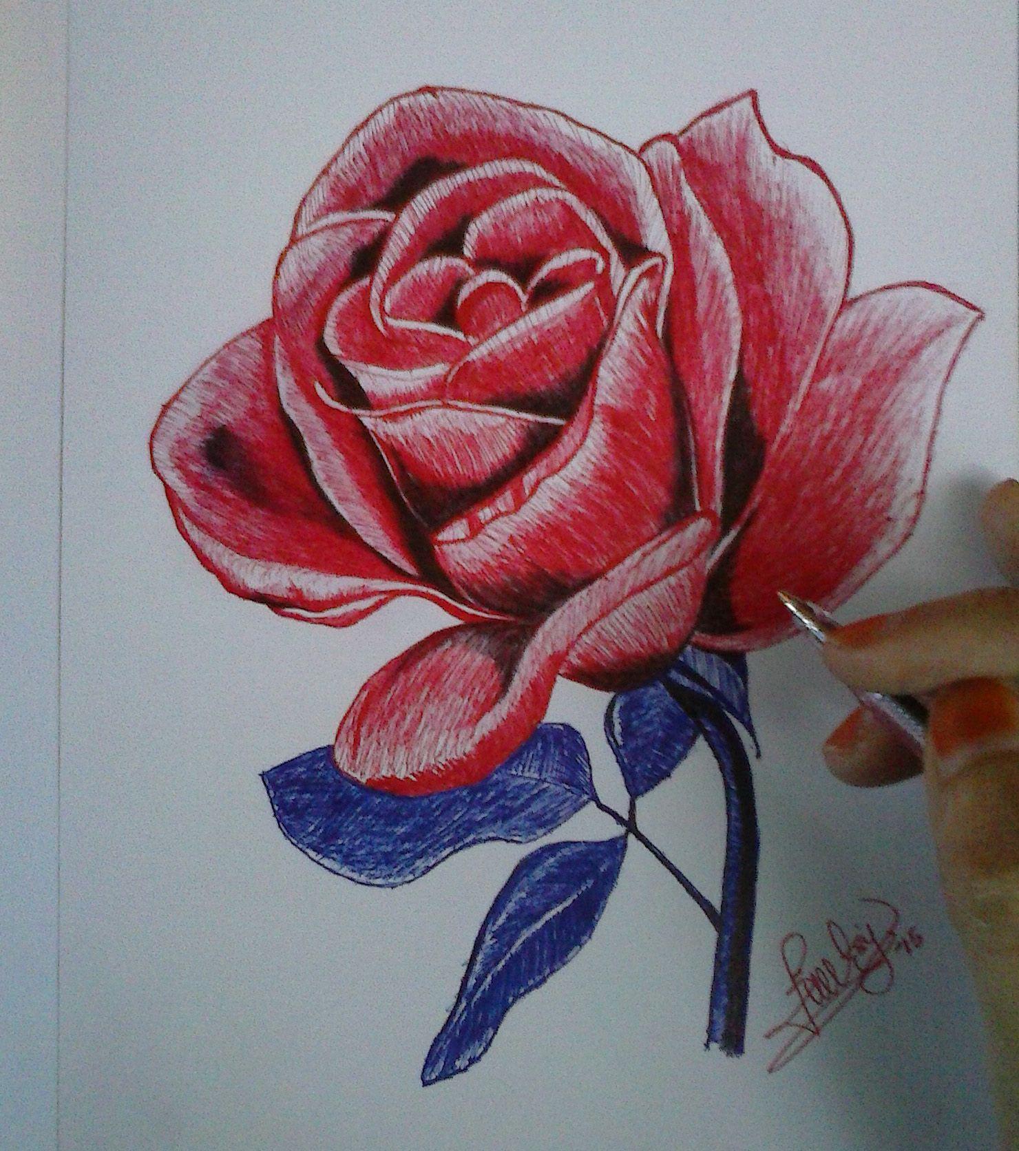Feti Sumaryanti Fetixuyan16 Pen Drawing Rose One Rose Feti