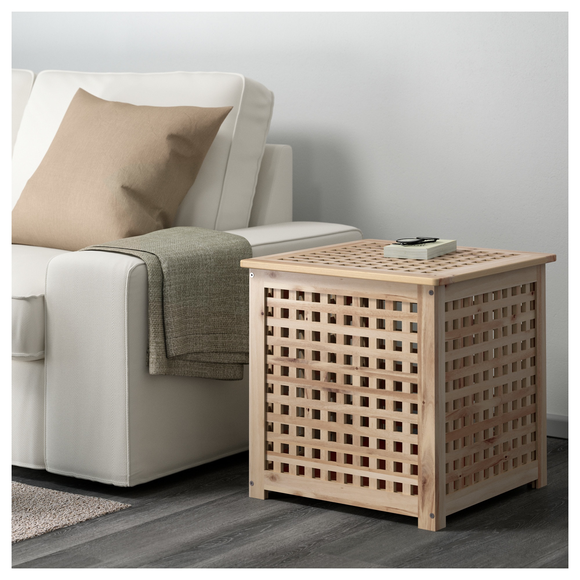 Hol Side Table Acacia 50x50 Cm Ikea Ikea Side Table With Storage Table Storage [ 2000 x 2000 Pixel ]