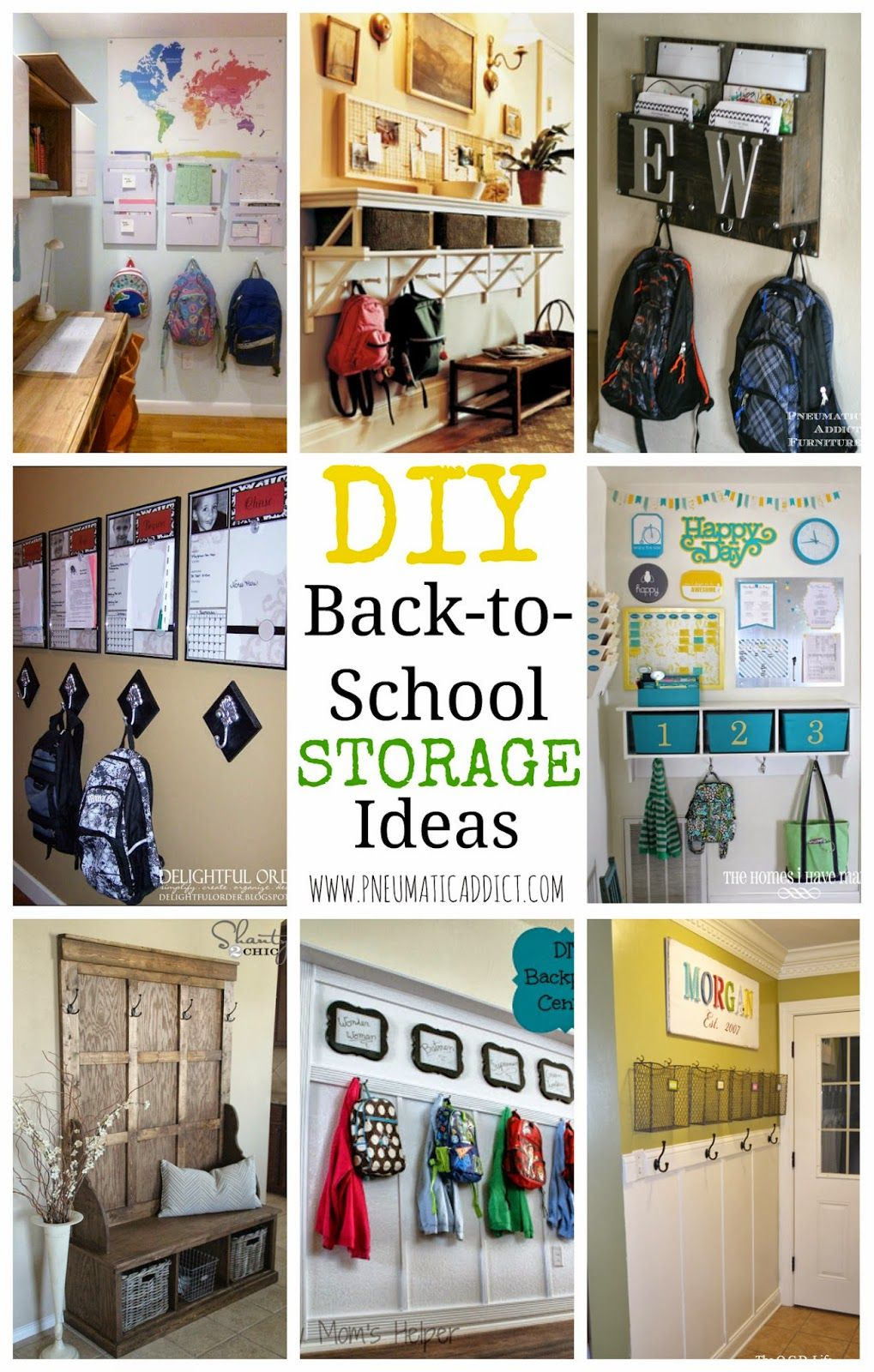 DIY BacktoSchool Storage Ideas Home organization hacks