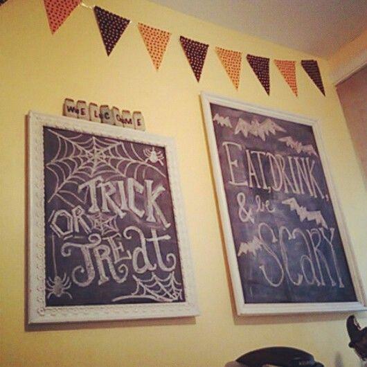 Halloween chalkboards in the kitchen!   Halloween   Pinterest ...