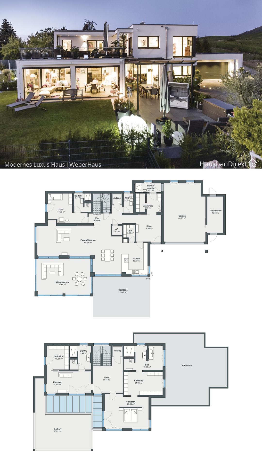 Luxus Haus modern mit Garage & Flachdach im Bauhausstil bauen Einfamilienhaus Grundriss Ideen offen