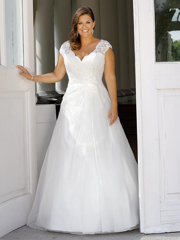 Brautkleid in A-Linie mit Spitzenapplikationen auf ...