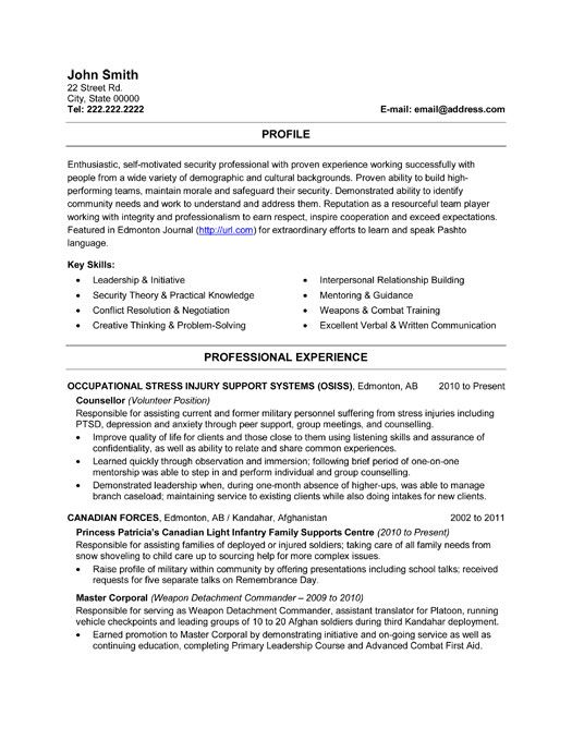 canadian military resume template