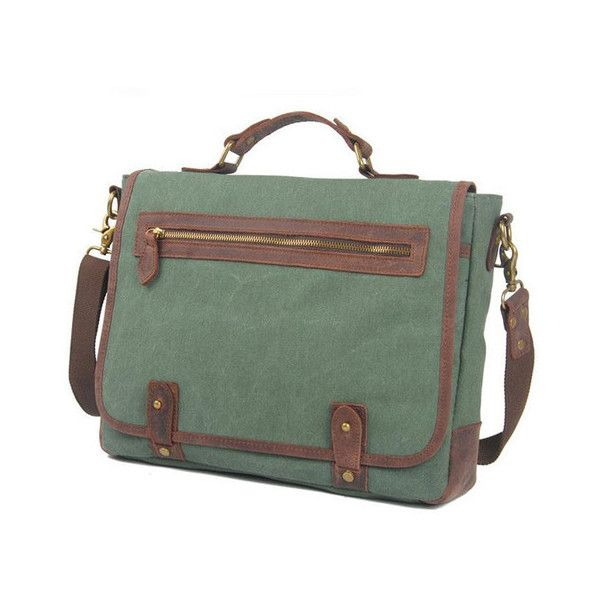 Lixmee business flap canvas messenger bag (185 BRL) ❤ liked on Polyvore featuring bags, messenger bags, green canvas bag, green messenger bag, flap messenger bag, messenger bag and flap lock bags