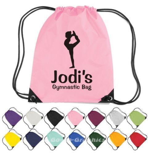 Personalised Gymnastics Drawstring Bag. PE/Gym/Gymnast/School Kit ...