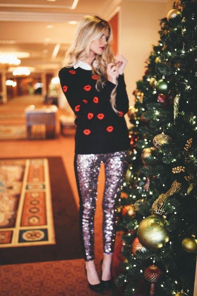 What To Wear To Christmas Dinner Moda Vestido Negro Lentejuelas