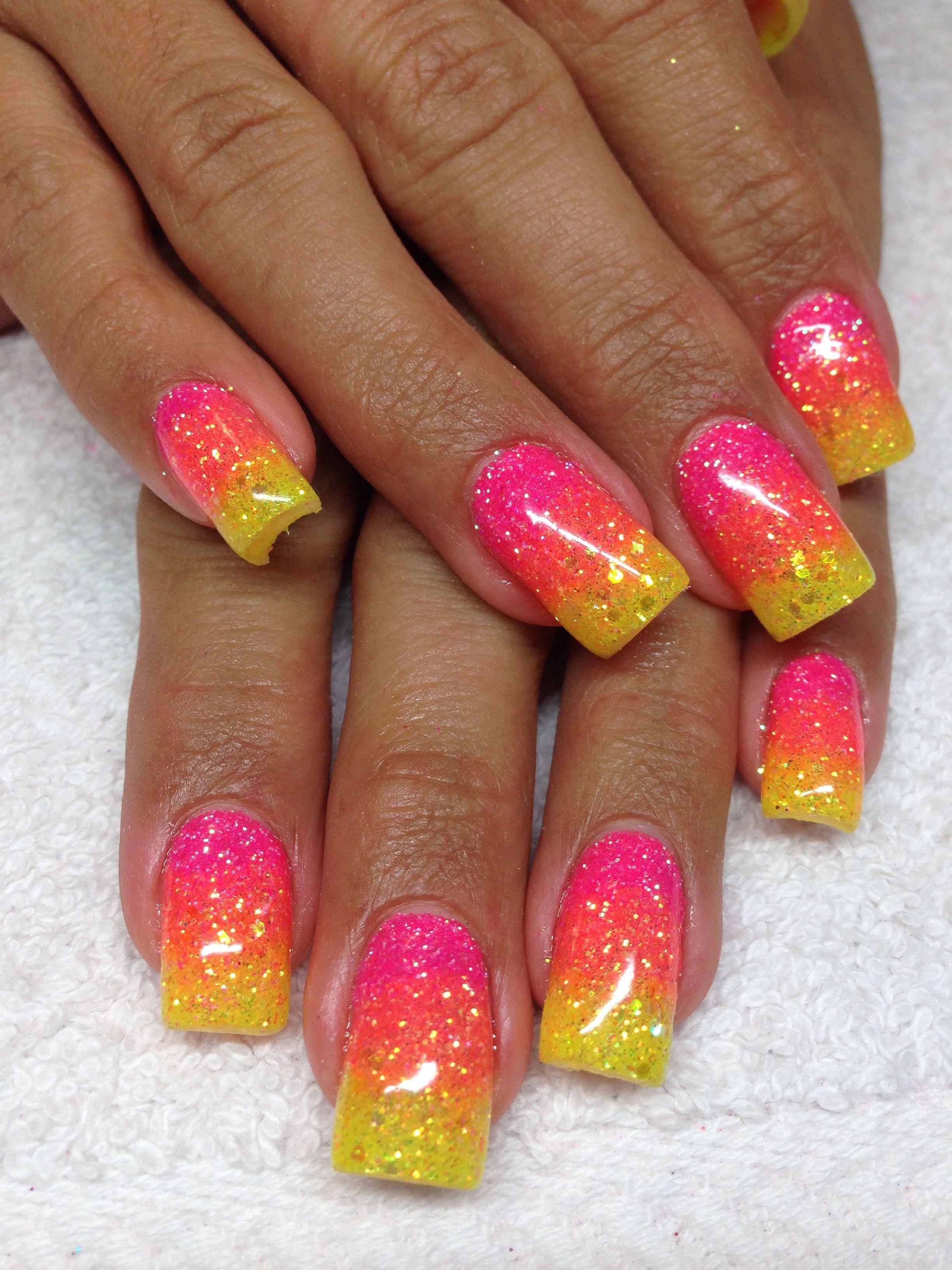 Hot Pink Orange And Yellow Glitter Nails Orange Glitter Yellow Glitter Orange Nails