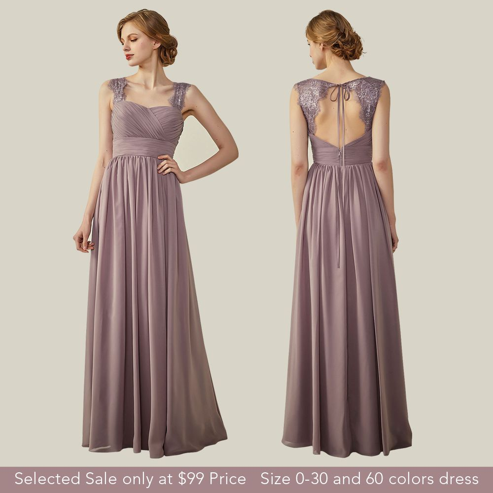 Sexy straps bridesmaid dresses mauve a line long dress with lace