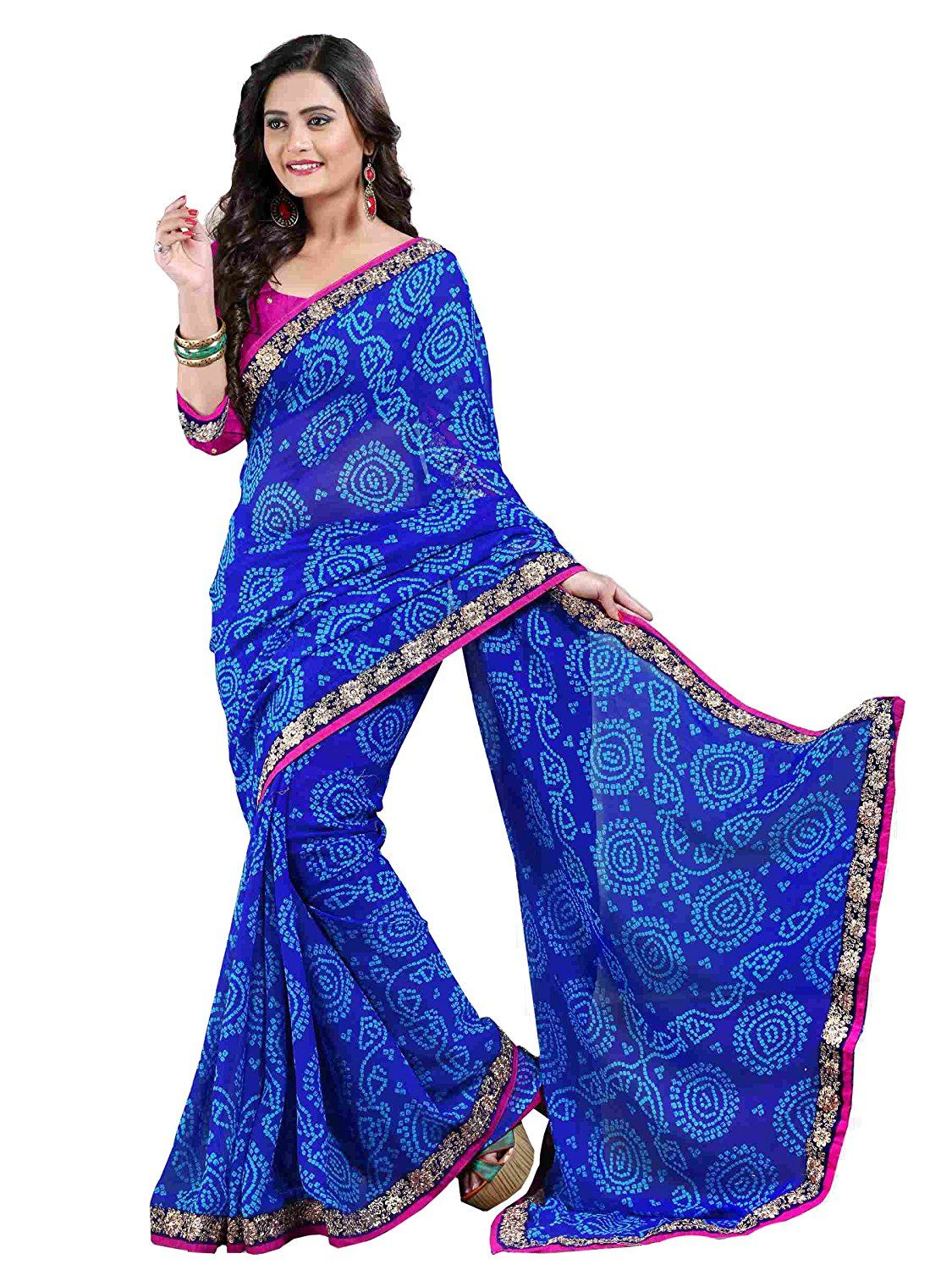 085ce04b49d78c Women s Chiffon Saree (Free Size)  Amazon.in  Clothing   Accessories