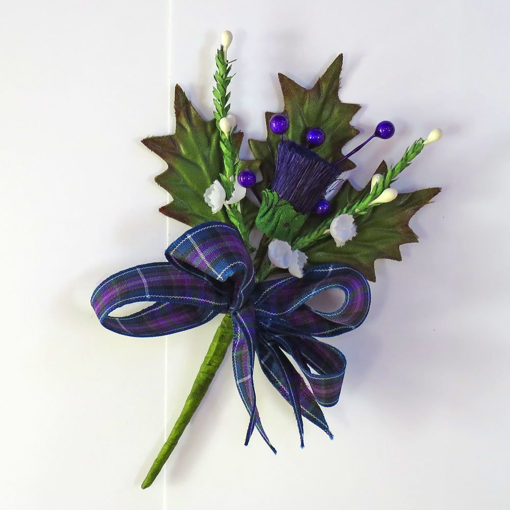 Silk Thistle Buttonhole Or Cake Topper Thistle Buttonhole