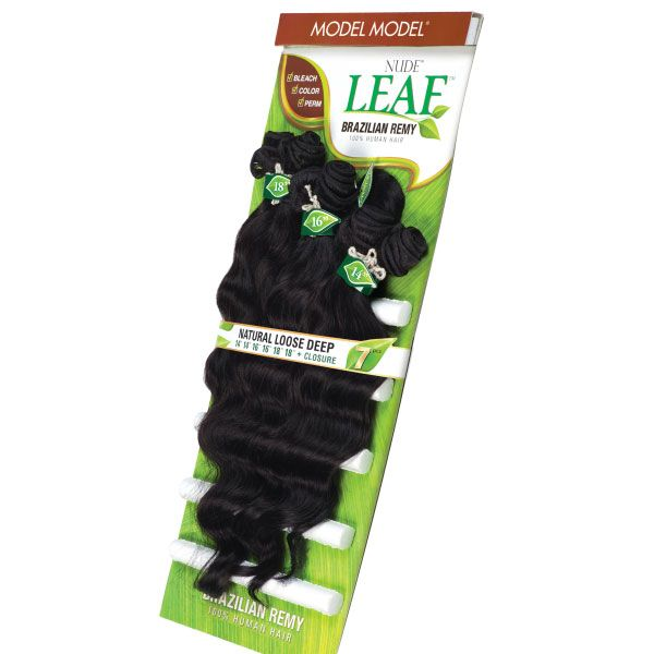 Model Model Nude Leaf 100% Unprocessed Brazilian Virgin Remy Hair Natural Loose Deep 7pcs (14,16,18)