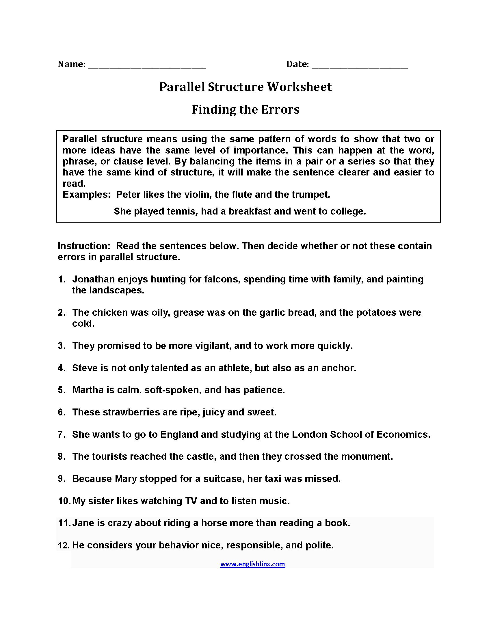 Parallel Structure Worksheet Finding The Errors