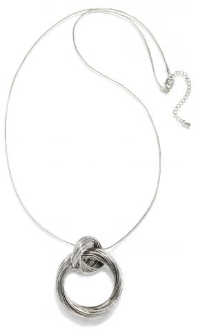 Interlocking Link Silver Pendant Necklace