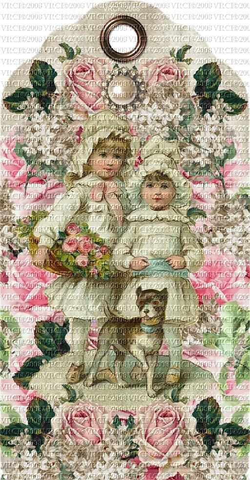 Victorian Rose Tags | Very Victorian Pink Roses Children Set Of 4 E-Tags