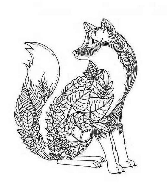 Printable Mandala Fox Coloring Page Adult Coloring Book Pages