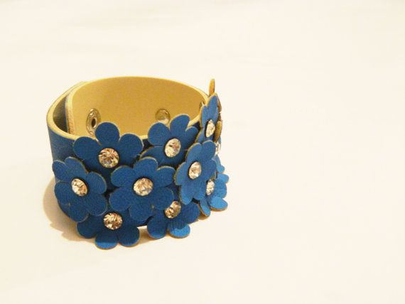 Blue Flower Leather Bracelet Leather Cuff Woman by JewelryForWoman, $15.00