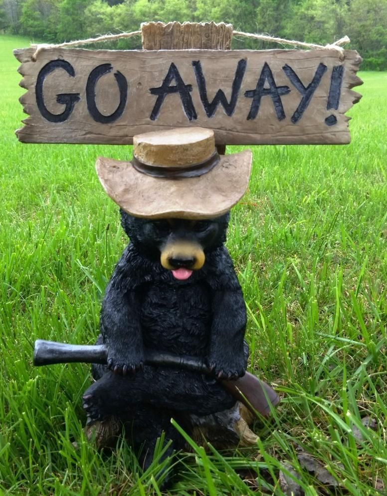 Grumpy Hillbilly Black Bear Garden Statue With Not Welcome U0026 Go Away Sign  DWK